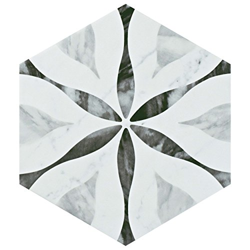 SomerTile FEQ8BXF Murmur Bardiglio Hexagon Porcelain Floor and Wall Tile, 7