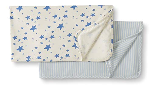 Moon and Back by Hanna Andersson Baby 2-Pack Organic Cotton Blanket, Blue, One Size ()