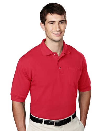 Tri Mountain Mens 60 40 Pique Pocketed Golf Shirt    Red   Medium
