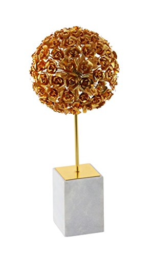 Deco 79 72951 Gold Iron Rose Ball Sculpture with Marble Base, Gold/White (Rose Marble Base)