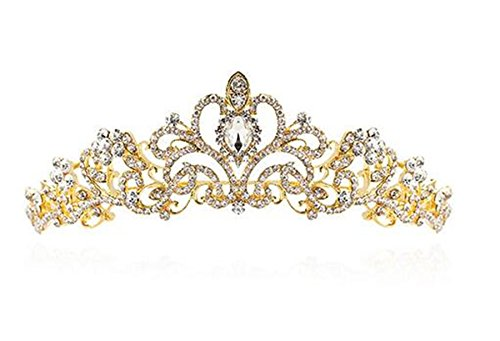 Gold Tone Crown (Wiipu Goldtone Bridal Princess Austrian Crystal Tiara Wedding Crown(A1202))