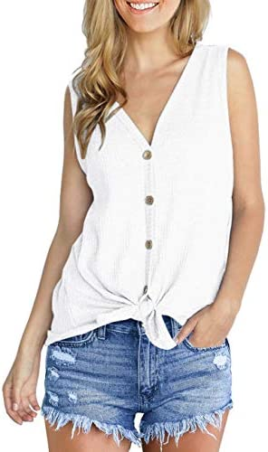 IWOLLENCE Womens Loose Henley Blouse Sleeveless Button Down T Shirts Tie Front Knot Tops