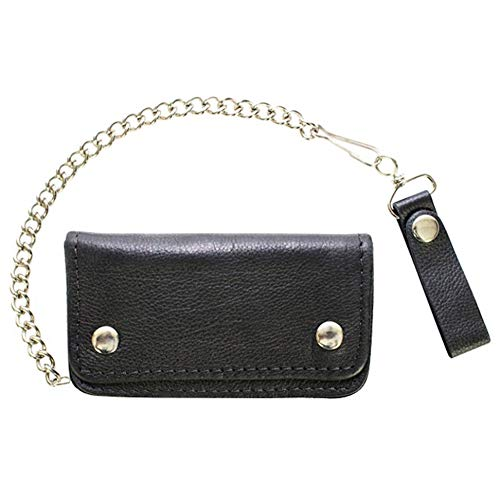 - Black Naked Leather Bifold Chain Wallet