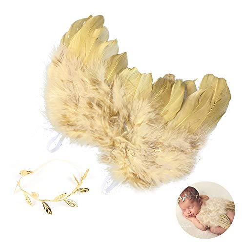(YaptheS Baby Angel Wings Newborn Baby Gold Feather Angel Wings with Headband Infant Costume Photo Prop Outfit Nice)
