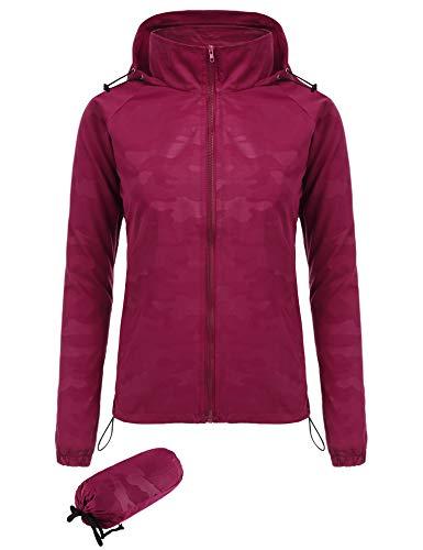 Windbreaker Running Jacket - FISOUL Women's Lightweight Jacket Packable Running Windbreaker Active Outdoor Hooded Waterproof Raincoat S-XXL(Red,Small)