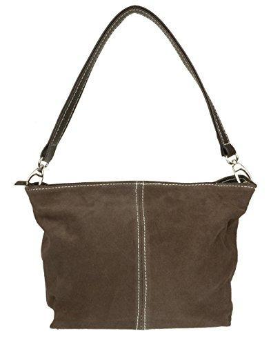 Girly Handbags - Bolso al hombro para mujer W 17, H 17, D 10 cm (W 7, H 7, D 4 inches) - Dark Coffee