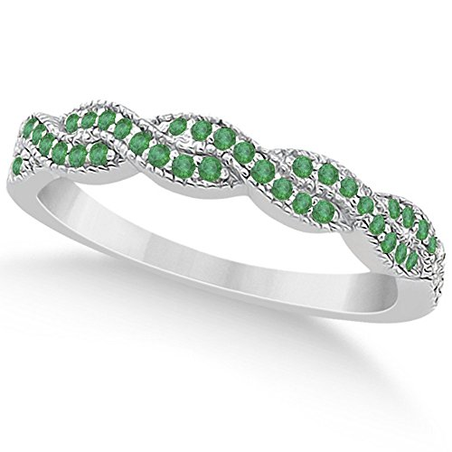 Crisscross Semi-Eternity Emerald Wedding Band w/ Milgrain Edges 18k White Gold (Emerald 18k Gold Cross Jewelry)