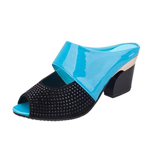 Voberry Sandalen, Frauen Damen Sommer Sandalen Mixed Farben Square High Heels Pantoffel Fisch Mund Schuhe Blau