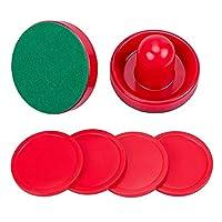 Conjunto jollylife de 2 empujadores de hockey de aire rojo y 4 discos rojos