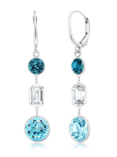 - Gem Stone King 7.00 Ct 14K White Gold Swiss Blue, London Blue, White Topaz Lever back Earrings