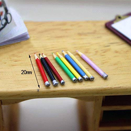 1 Set//8pcs mini dollhouse miniature accessories mini color pencil TO