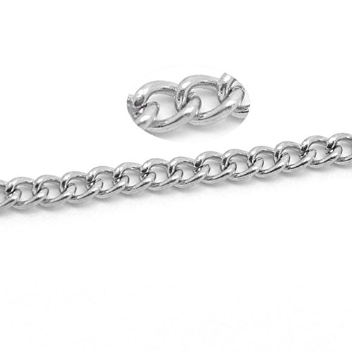 VALYRIA 32ft Silver Tone Stainlesss Steel Link-Opened Curb Chains Findings 4x3mm(1/4