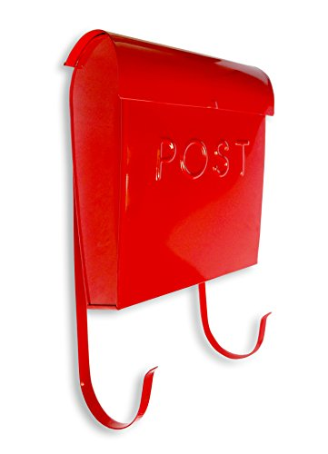 NACH MB-44766 Wall Mounted Euro Post Box Mailbox with Newspaper Holder, Powder Coated Finish, 12 x 11.2 x 4.5 Inch, Red