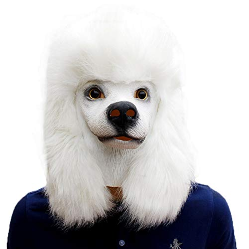 NECHARI Deluxe Halloween Costume Party Latex Super Bowl Underdog Dog Head Mask Poodle -