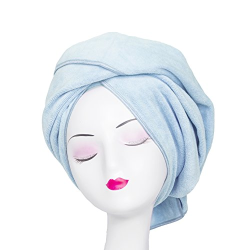 WuJi Super Absorbent Anti-Frizz Microfiber Hair Towel Hair Wrap Curly Hair Drying Towel 23.6''x47'' Large Multifunction Towel for Bath Spa Makeup, Light Blue