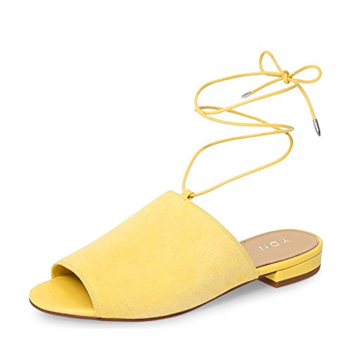 YDN Women Lace Up Suede Flat Mules Low Heel Peep Toe Slippers Comfy Walking Shoes Yellow buy cheap outlet manchester great sale online discount classic buy cheap popular extremely for sale 6PJZcs