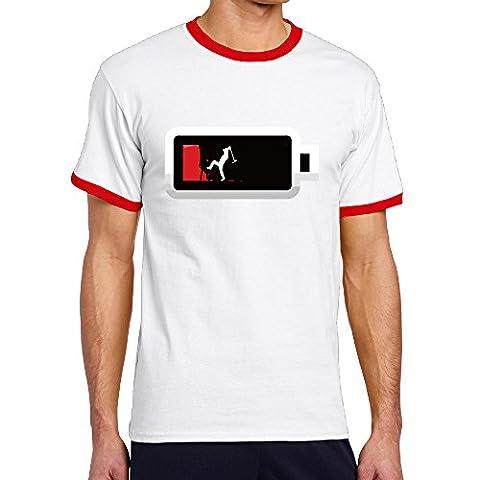 Battery Witn Man Inside Men's Short Sleeve Crew Neck Hit-color (t-shirts,tees,tee Shirtscrew Neck Red (Supernatural Battery)
