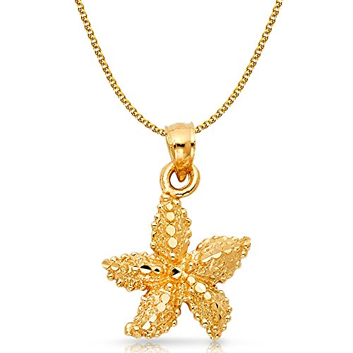 Ioka Jewelry - 14K Yellow Gold Starfish Charm Pendant with 1.5mm Flat Open Wheat Chain Necklace - 18