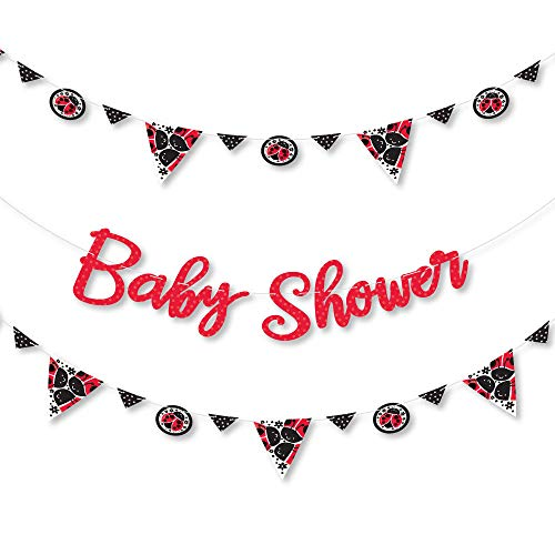 Big Dot of Happiness Happy Little Ladybug - Baby Shower or Birthday Party Letter Banner Decoration - 36 Banner Cutouts and Baby Shower Banner -
