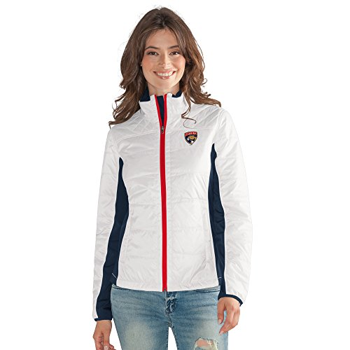 GIII For Her NHL Florida Panthers Women's Grand Slam Full Zip Jacket, X-Large, White ()