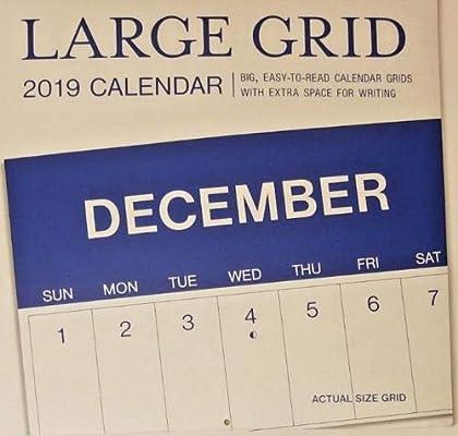 Terminal 5 Calendar.Amazon Com Large Grid 2019 16 Month Wall Calendar 12 X24 Office