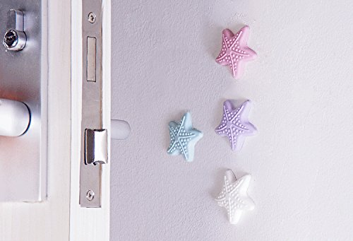 Home-organizer Tech 5 PC Glow in the Dark Silicone Door Handle Crash Pad Starfish Design Wall Protectors Self Adhesive Bumper Guard Stopper Rubber Anti Collision Stop Stick (White) (Antique Cupboard Jam)