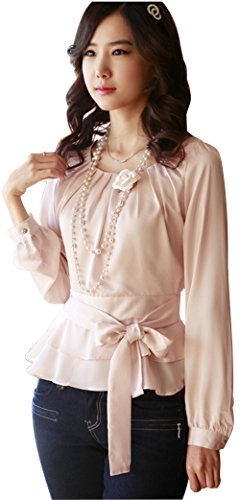DPO Women's Chiffon Pleated Slim Fit Long Sleeve Round Neck Blouse,Pink Tag Size: L, US Size: 6 -