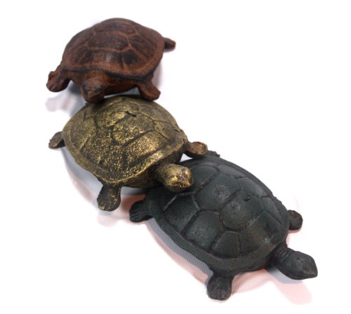 Turtle Friends Cast Iron Garden Ornaments - Set of 3 (Iron Decor Garden Cast)