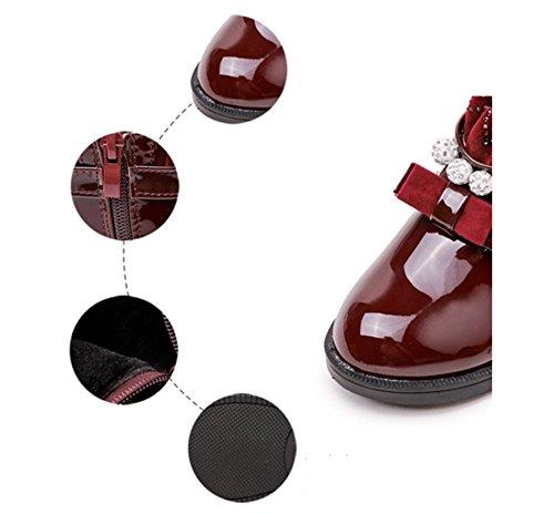 Ohmais Kinder Mädchen Junge Halbschuhe Stiefel und Stiefeletten klassische kleines Mädchen Schuh Bordeaux