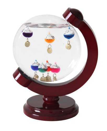 Lily's Home 7' Round Galileo Thermometer with 7 Multi Color Floats and Gold Temperature Tags in a Cherry Finished Wood Frame