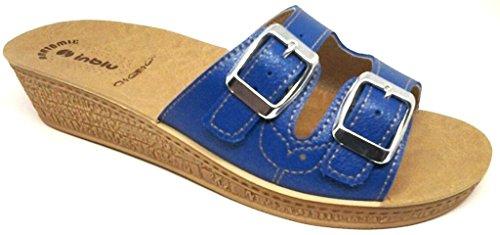 INBLU - Zapatillas de estar por casa para mujer azul Jeans 30