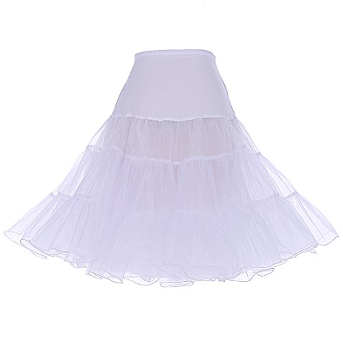 DRESSTELLS Women's Vintage Rockabilly Petticoat Skirt Tutu 1950s Underskirt White - Dress Length Knee Satin