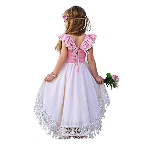 do.Cross Toddler Baby Kids Girls Dress Sleeveless Ruffle High Low Tassel Prom Dress (120/5-6T, Pink)