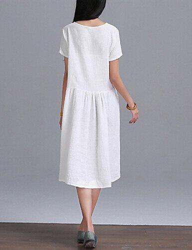 PU&PU Robe Aux femmes Ample Vintage,Couleur Pleine Col Arrondi Mi-long Coton , white-l , white-l