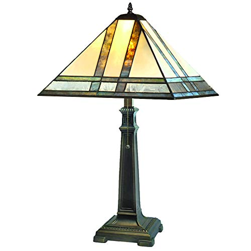 J Devlin Lam 370 TB Large Mission Stained Glass Table Lamp Multi Colored Opal ()