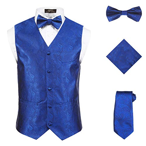 Vittorino Men's 4 Piece Formal Paisley Vest Set With Tuxedo Vest Tie Hankerchief Bow Tie, XXX-Large, Royal