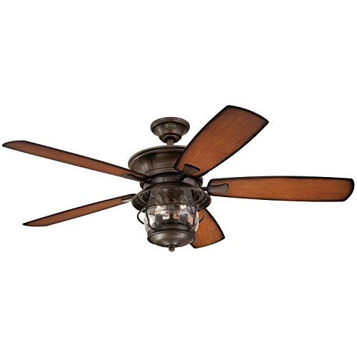 Westinghouse 7800000 Brentford Indoor/Outdoor Five-Blade Reversible Ceiling Fan with Clear Seeded Glass, 52-Inch, Aged Walnut Finish - 2 ()