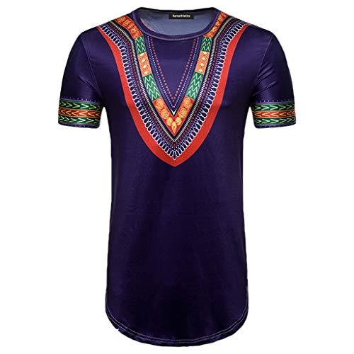 YAYUMI 2019 Men's Summer African Print Round Neck Pullover Casual Short Sleeve T-Shirt Top Blous Purple