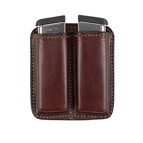 Double Stack Pistol - Relentless Tactical Leather Double Magazine Holder | Made in USA | Sizes to fit virtually Any 9mm.40 or .45 Caliber Pistol Mag | Single or Double Stack | IWB or OWB Mag Pouch