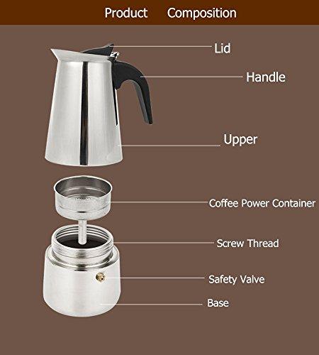 Espresso Coffee Maker Pot Stovetop Moka Coffee Pot Stainless Steel Latte Percolator with Bonus Scoop (9 cups/450ml)