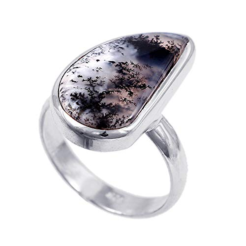 ❤️❤️ Natural Dendritic Agate ️Ring Size 9 ❤️❤️ | 925 Sterling Silver | Handcrafted Designer Stylish Charm Fashion Jewelry | Gift for Women, Ladies and Girls | Fancy Shape