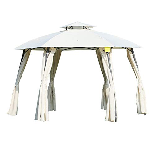 - Outsunny 12' x 9' Steel Outdoor Patio Hexagon Gazebo Pavilion Canopy Tent with Curtains - Cream White