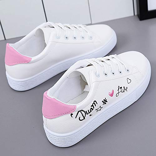 Zapatillas Negro Azul ZHZNVX PU de Caminar Punta Verano Zapatos Poliuretano para Rosa Plano Deporte y tacón Zapatos Redonda Primavera Zapatos de de Pink de Mujer 1ABXw1