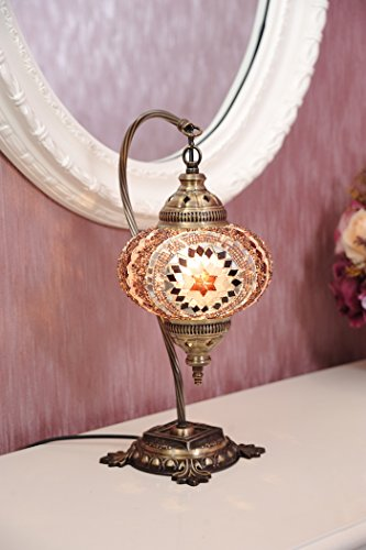 (18 Variations)NEWEST CopperBull 2018 Turkish Moroccan Tiffany Style Handmade Mosaic Table Desk Bedside Night Swan Neck Lamp Light Lampshade, 42cm (11)