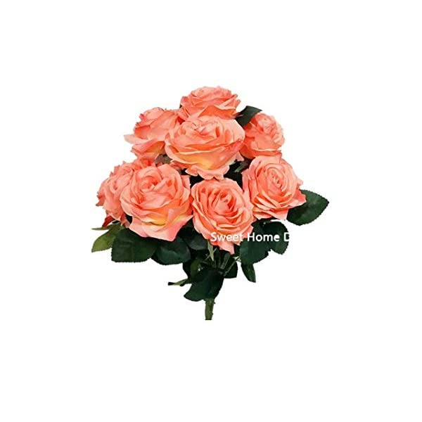 """Sweet Home Deco 18"""" Princess Diana Rose Silk Artificial Flower Valentine's Day (10 Stems/10 Flower Heads), The Most Beautiful Roses for Wedding/Home Decor (Coral)"""
