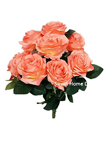 Sweet Home Deco 18'' Princess Diana Rose Silk Artificial Flower Valentine's Day (10 Stems/10 Flower Heads), The Most Beautiful Roses for Wedding/Home Decor (Coral) (Rose Deco Home Sweet)
