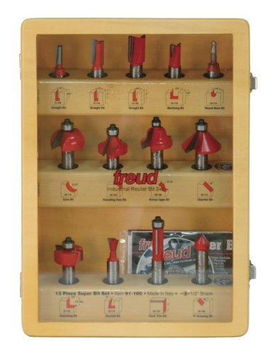 Freud 91-100 13-Piece Super Router Bit Set with 1/2-Inch Shank and Freud's TiCo Hi-Density Carbide by Freud
