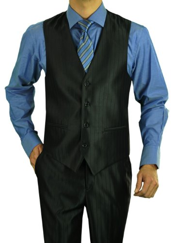 Darya Trading Modern Fit 2 Button Three Piece Men's Suit with Vest