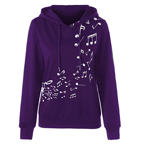 Price comparison product image MOONHOUSE 2018 New Womens Solid Color Hoodie Musical Note Letter Print Loose Sweatshirt Long Sleeve Pullover Fall Spring Crop Coat (XL, Purple)