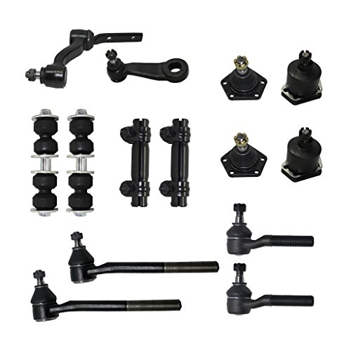 Detroit Axle - 14 Piece Front Suspension Kit - 2 Upper Ball Joints, 2 Lower Ball Joints, 2 Sway Bar End Links, Pitman & Idler Arms, Tie Rod Ends, 2 Adjustment Sleeves - Fits 4x4 Models Only
